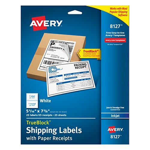 Avery Shipping Labels W/ Paper Receipts And TrueBlock